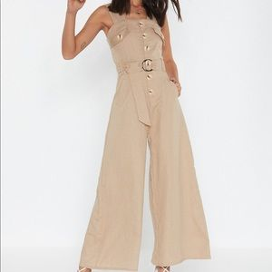 It's Going Button Down black linen jumpsuit